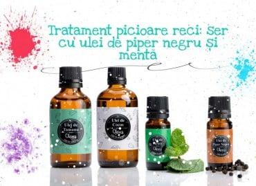 Tratament picioare reci: ser cu ulei de piper negru și mentă